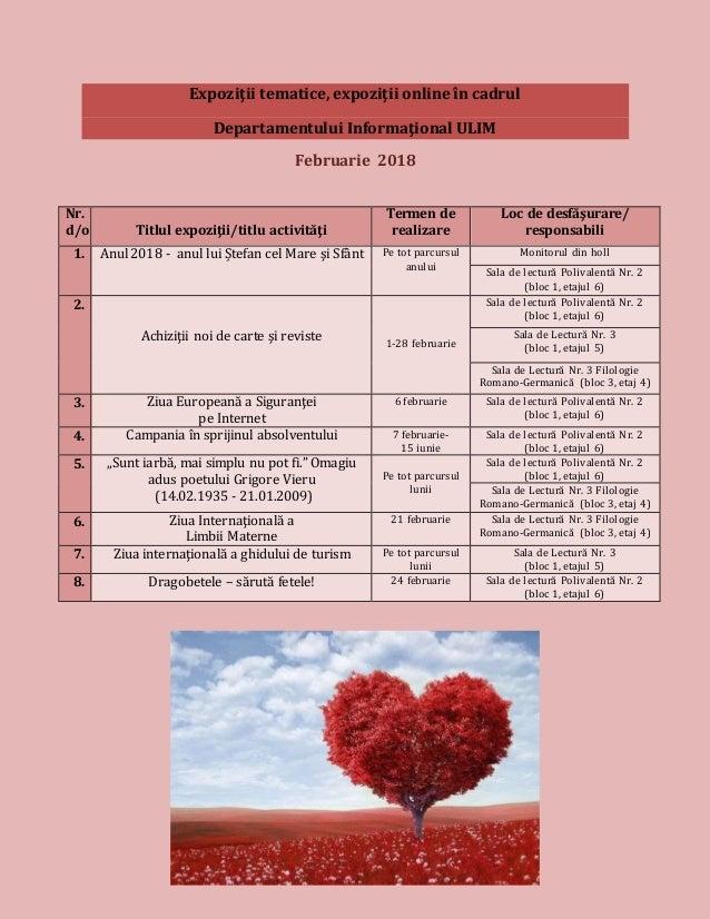 Expoziţii tematice, expoziţii online în cadrul Departamentului Informaţional ULIM Februarie 2018 Nr. d/o Titlul expoziţii/...