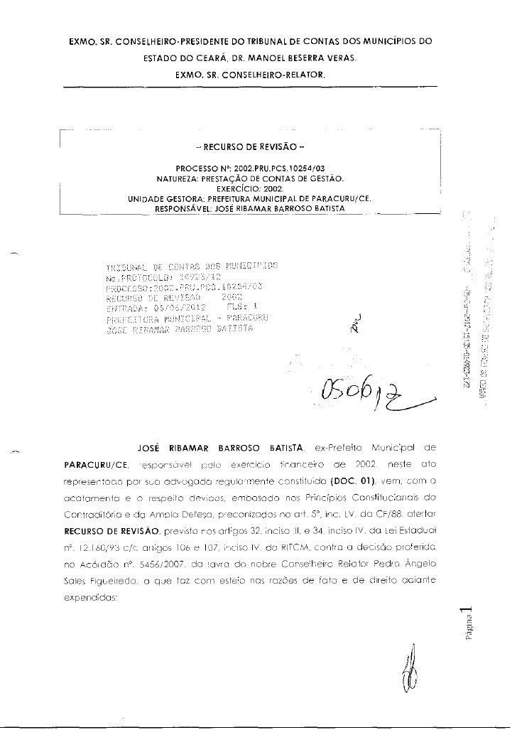 EXMO. SR. CONSELHEIRO-PRESIDENTE DO TRIBUNAL DE CONTAS DOS MUNICÍPIOS DO                  ESTADO DO CEARÁ, DR. MANOEL BESE...