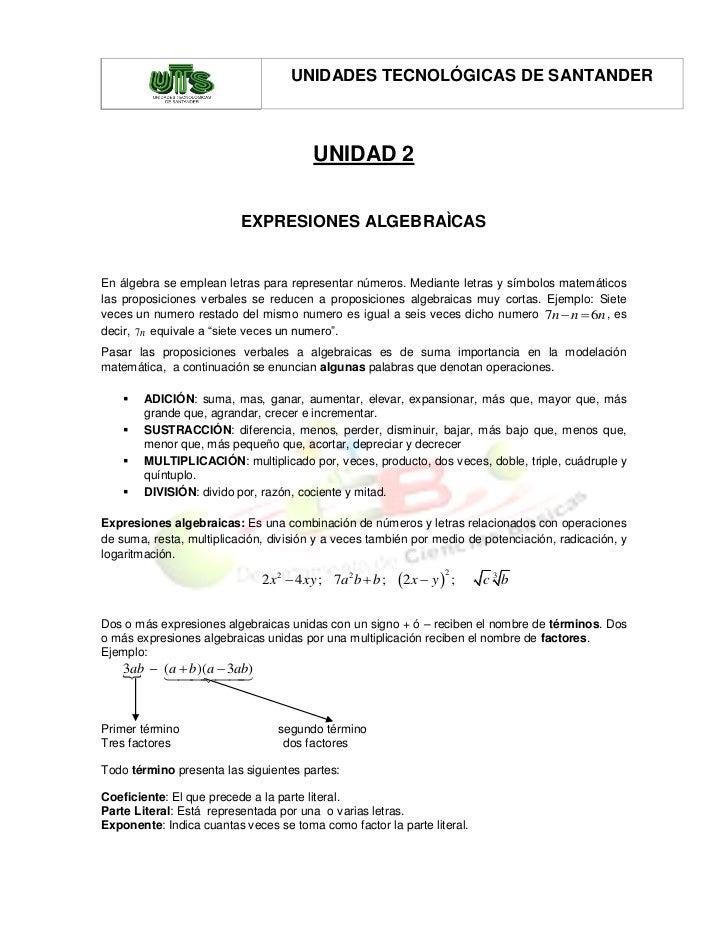 UNIDADES TECNOLÓGICAS DE SANTANDER                                        UNIDAD 2                          EXPRESIONES AL...
