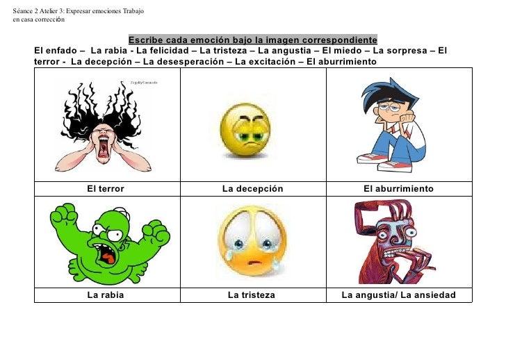 Séance 2 Atelier 3: Expresar emociones Trabajoen casa corrección                           Escribe cada emoción bajo la im...