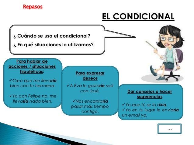 Repasos                                           EL CONDICIONAL  ¿ Cuándo se usa el condicional?  ¿ En qué situaciones lo...