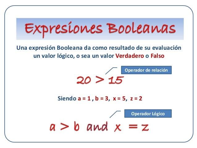 Una expresión Booleana da como resultado de su evaluación un valor lógico, o sea un valor Verdadero o Falso Siendo a = 1 ,...