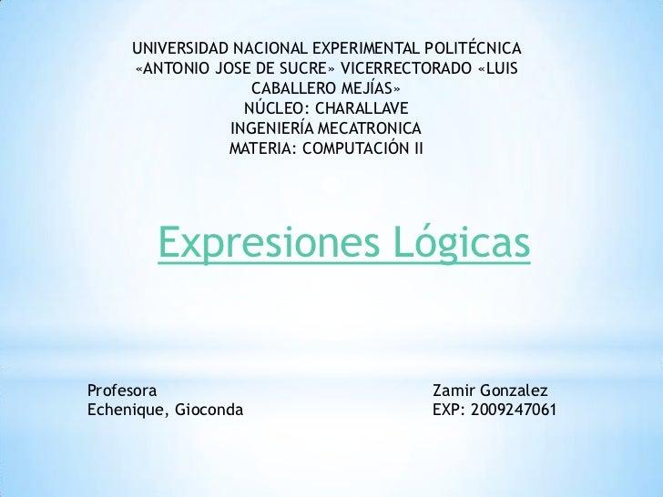 UNIVERSIDAD NACIONAL EXPERIMENTAL POLITÉCNICA     «ANTONIO JOSE DE SUCRE» VICERRECTORADO «LUIS                   CABALLERO...