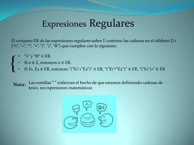 Expresiones                RegularesEl conjunto ER de las expresiones regulares sobre Σ contiene las cadenas en el alfabet...
