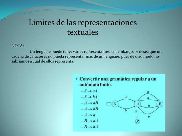 Limites de las representaciones                    textualesNOTA:          Un lenguaje puede tener varias representantes, ...