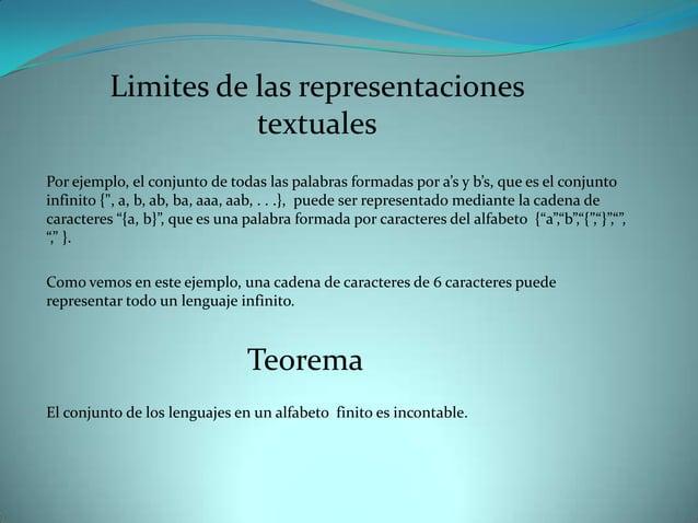 Limites de las representaciones                     textualesPor ejemplo, el conjunto de todas las palabras formadas por a...