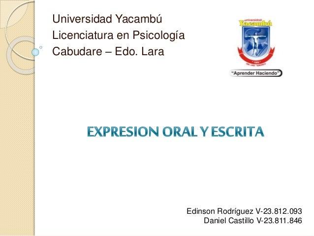 Universidad Yacambú  Licenciatura en Psicología  Cabudare – Edo. Lara  Edinson Rodríguez V-23.812.093  Daniel Castillo V-2...