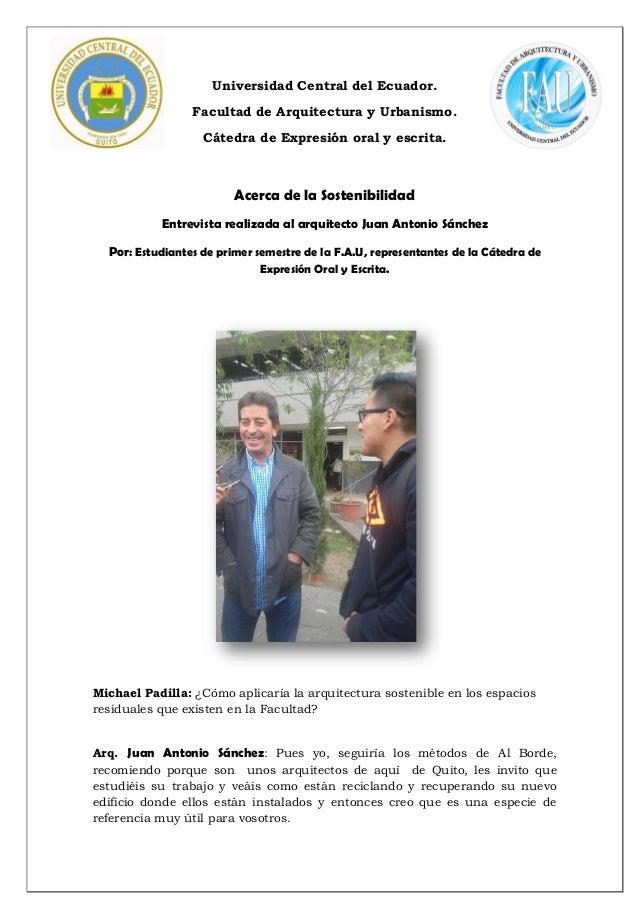Universidad Central del Ecuador. Facultad de Arquitectura y Urbanismo. Cátedra de Expresión oral y escrita. Acerca de la S...