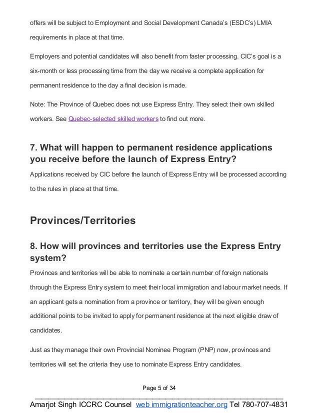 Expressentry fees and FAQ's