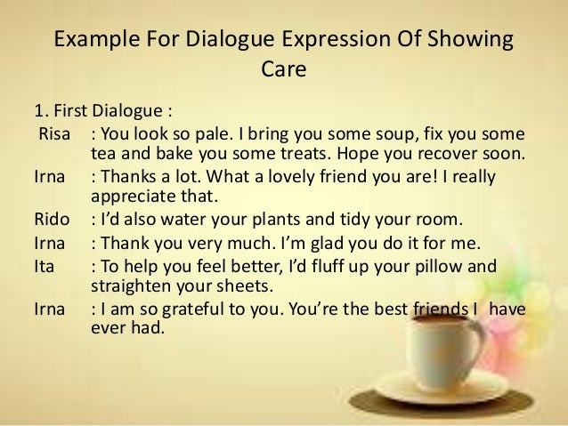 Expression Of Complimenting And Showing Care