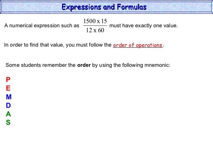Expressions & Formulas (Algebra 2)