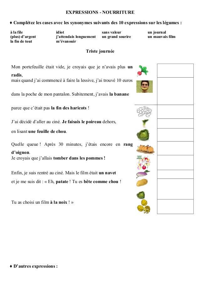 EXPRESSIONS - NOURRITURE ♦ Complétez les cases avec les synonymes suivants des 10 expressions sur les légumes : à la file ...