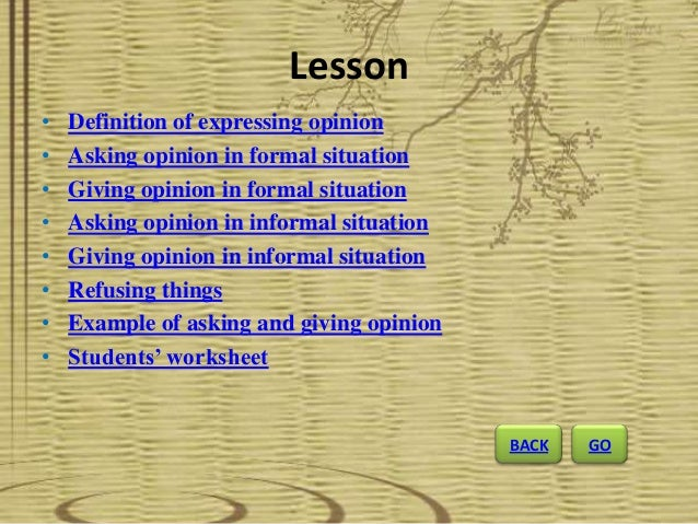 Expressions Of Asking And Giving Opinion