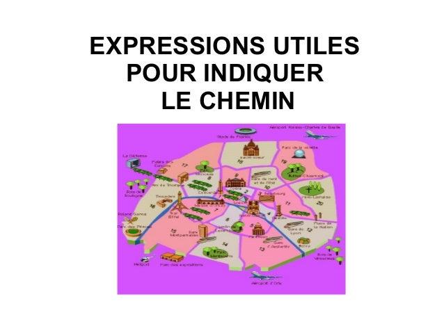 EXPRESSIONS UTILES  POUR INDIQUER    LE CHEMIN