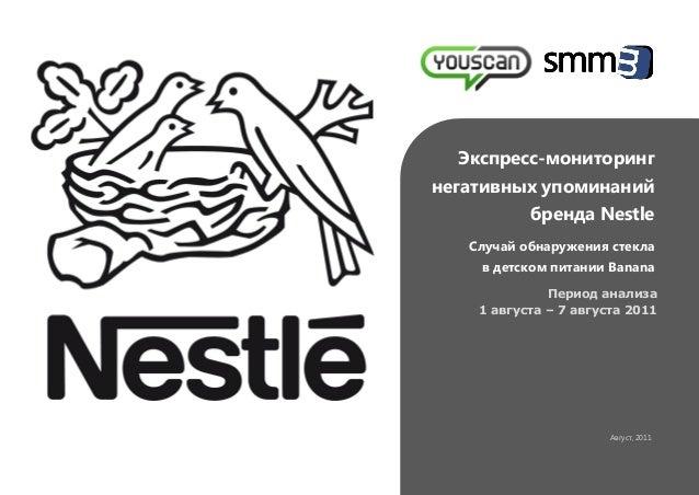 Экспресс-мониторинг негативных упоминаний бренда Nestle Случай обнаружения стекла в детском питании Banana Период анализа ...