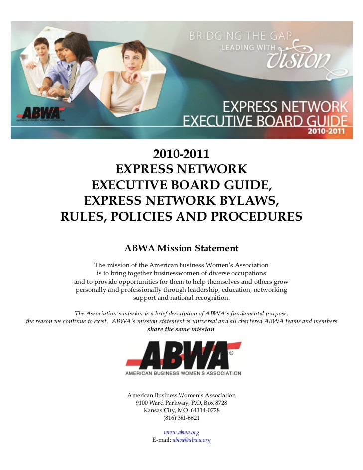 2010-2011                    EXPRESS NETWORK                EXECUTIVE BOARD GUIDE,               EXPRESS NETWORK BYLAWS,  ...