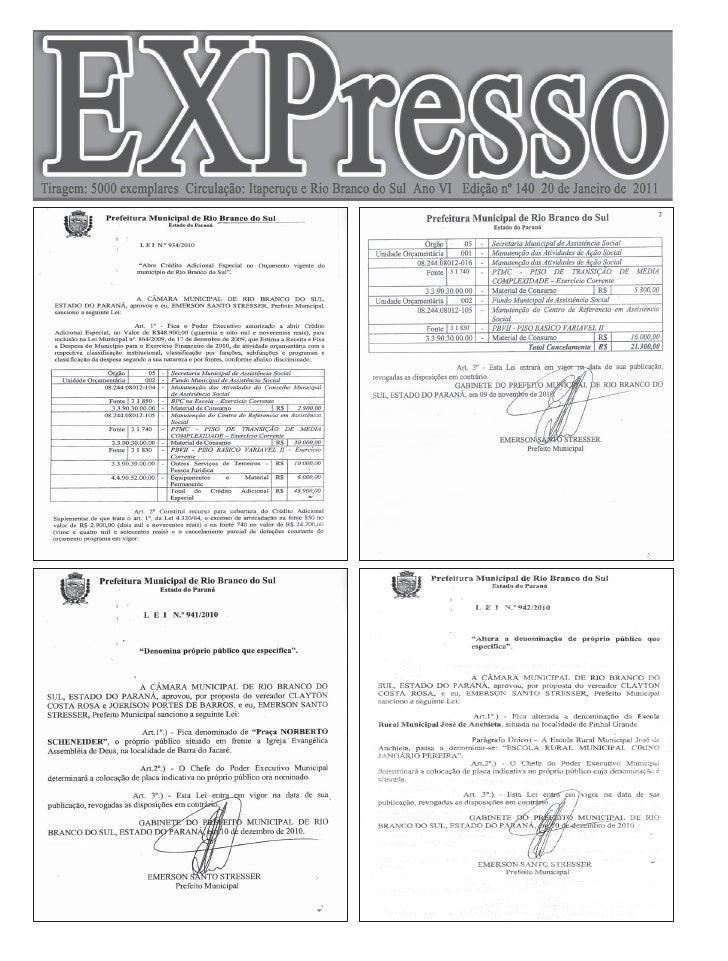 Pág. 2   Edição 140 - 20 de Janeiro de 2011                                                        Editora Faria Ltda     ...