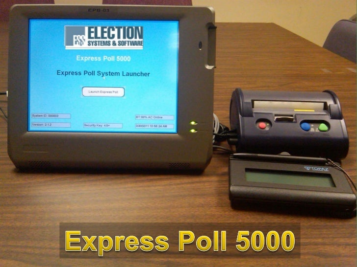 Objectives Discuss facts of the electronic poll book Review Benefits of the Express Poll  5000 Discuss process involved...