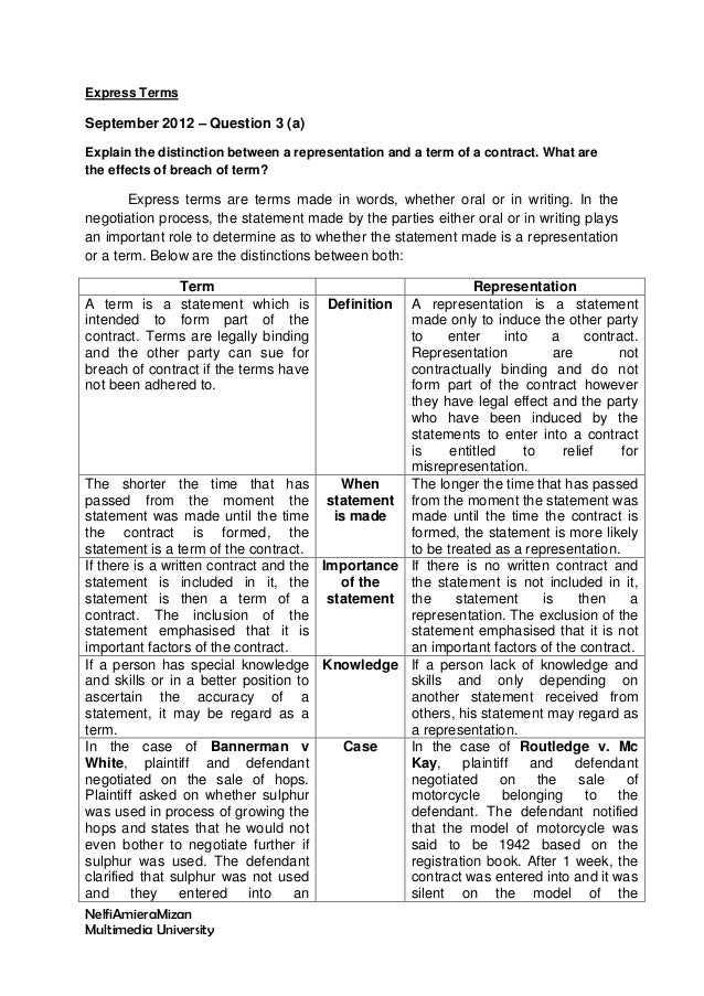 Express Terms  September 2012 – Question 3 (a) Explain the distinction between a representation and a term of a contract. ...