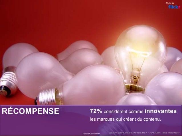 RÉCOMPENSE 72% considèrent comme innovantes les marques qui créent du contenu. Yahoo! Confidentiel Photode Source=Etude...