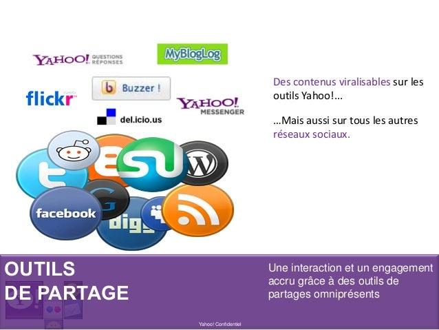 OUTILS DE PARTAGE Yahoo! Confidentiel Une interaction et un engagement accru grâce à des outils de partages omniprésents D...