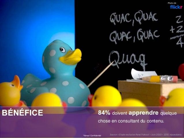 BÉNÉFICE 84% doivent apprendre quelque chose en consultant du contenu. Yahoo! Confidentiel Photode Source=Etudeexclusi...