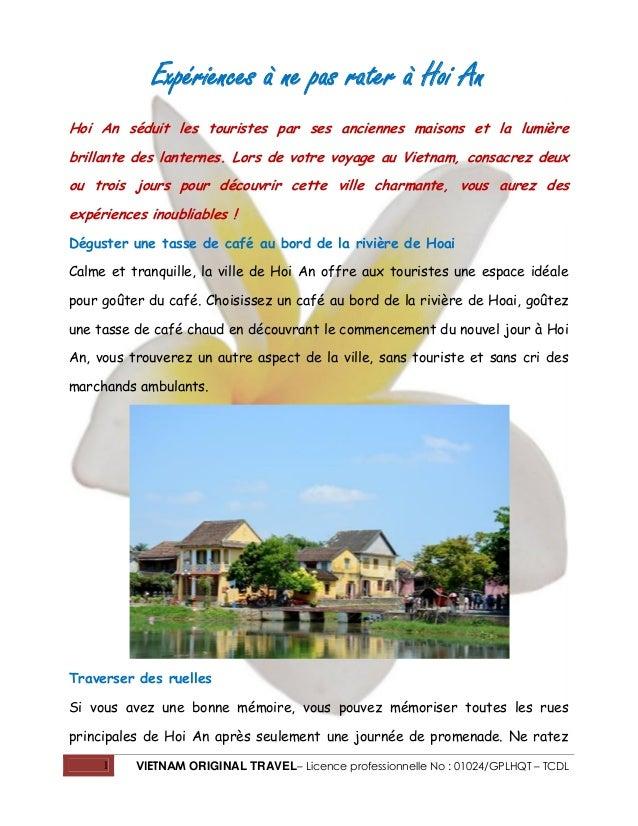 1 VIETNAM ORIGINAL TRAVEL– Licence professionnelle No : 01024/GPLHQT – TCDL Expériences à ne pas rater à Hoi An Hoi An séd...