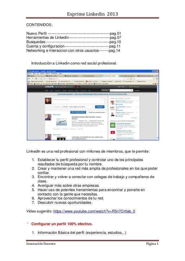 Exprime Linkedin 2013 Innovación Docente Página 1 CONTENIDOS: Nuevo Perfil -----------------------------------------------...