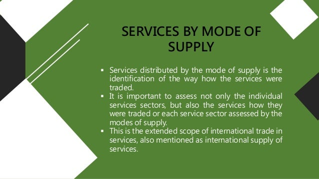 General agreement on trade in services four modes of supply general agreement on trade in services gats four modes of supply cristobal mary anne a exservs te202 may 8 2017 2 platinumwayz
