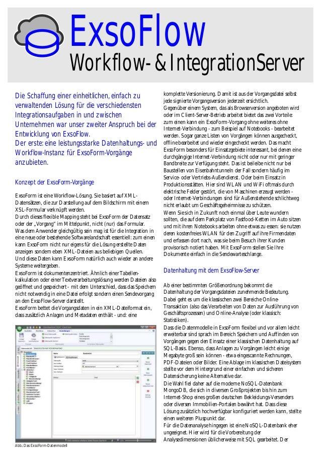 ExsoFlow  Workflow- & IntegrationServer  Die Schaffung einer einheitlichen, einfach zu verwaltenden Lösung für die verschi...