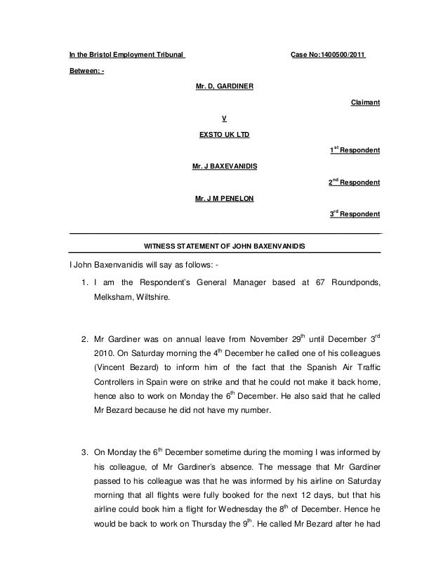 Witness Statement John Baxevanidis Exsto Uk Ltd