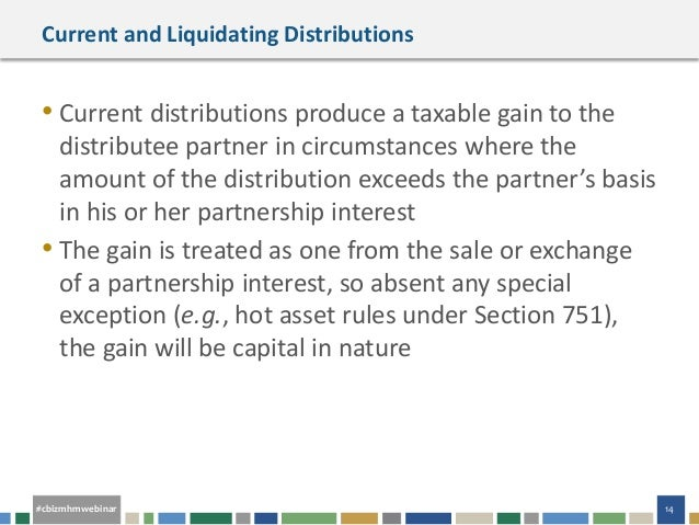 Cash basis liquidating distributions