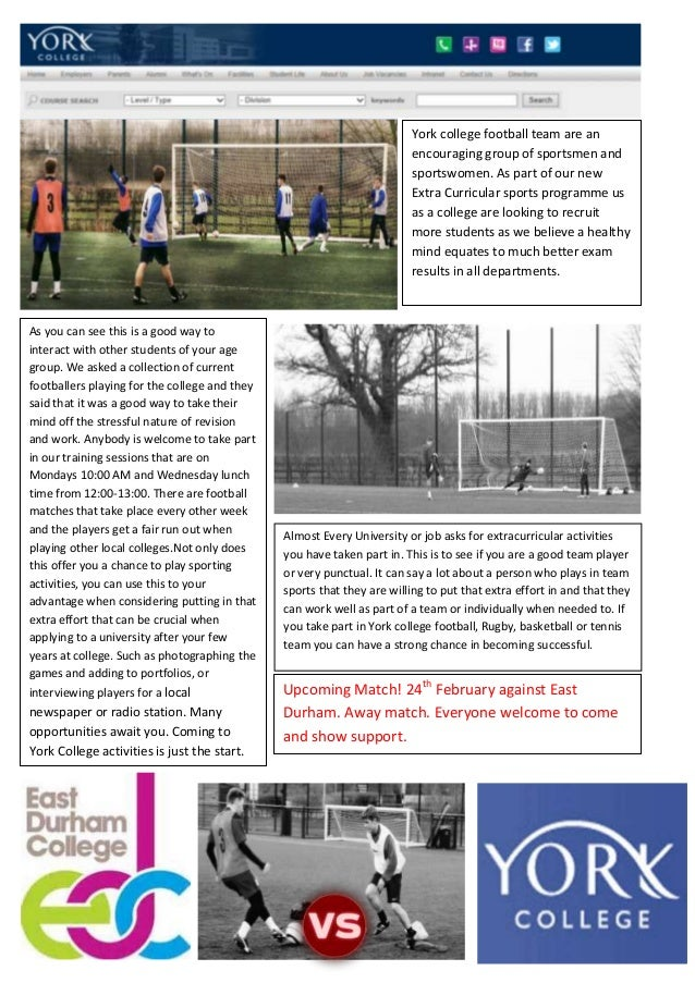 York college football team are an encouraging group of sportsmen and sportswomen. As part of our new Extra Curricular spor...