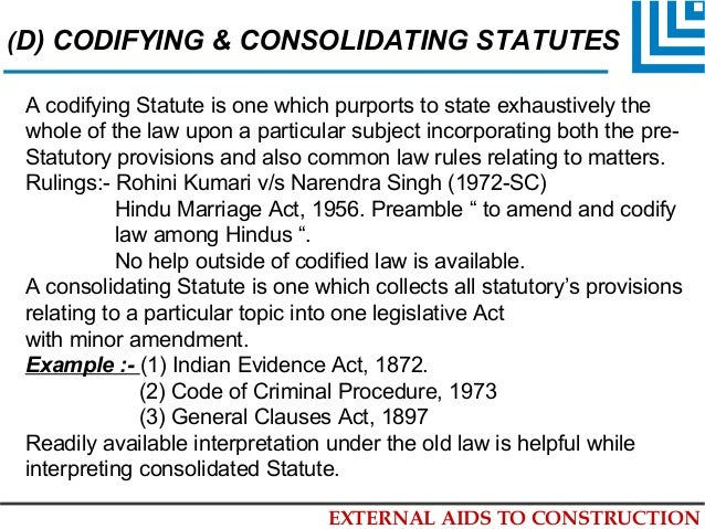 Codifying and consolidating statutes definition