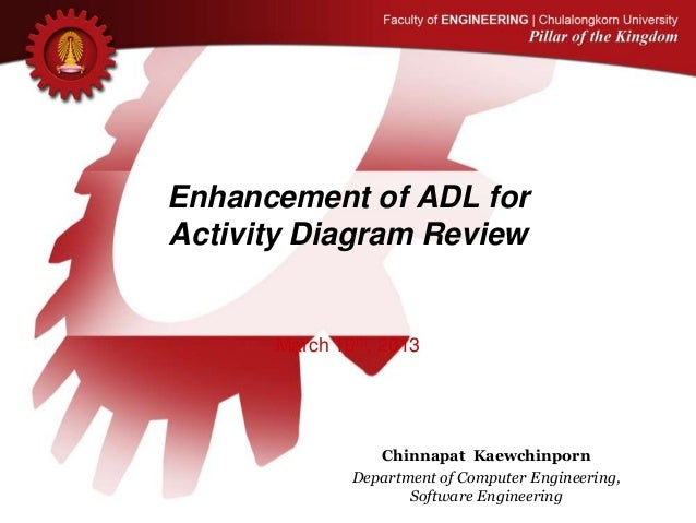 Enhancement of ADL for Activity Diagram Review March 19th, 2013 Chinnapat Kaewchinporn Department of Computer Engineering,...