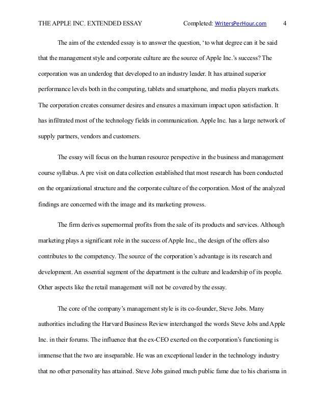 ib extended essay sample on apple inc