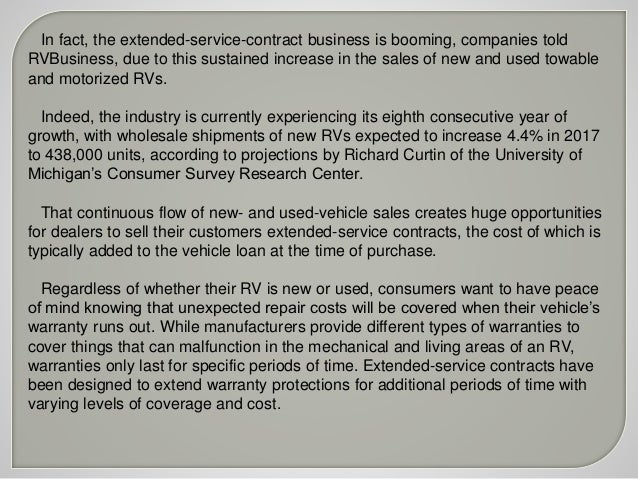 2. In Fact, The Extended Service Contract Business ...