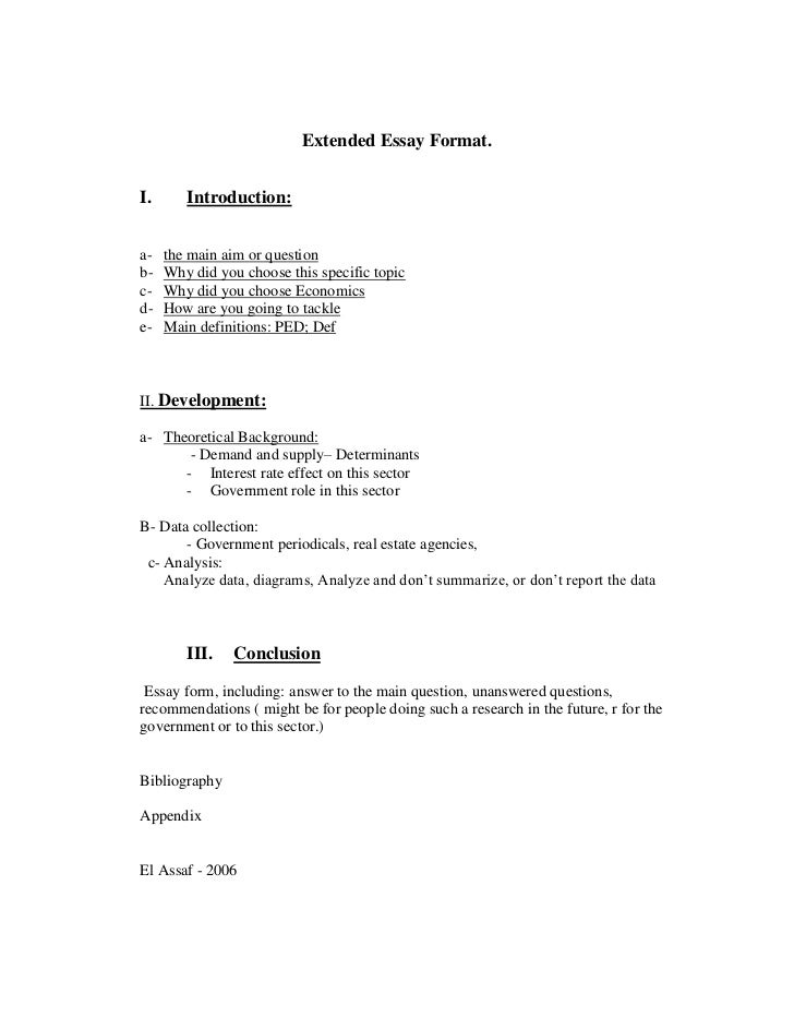 extended essay formati introductiona the main aim or questionb extended essay format - Brief Essay Format