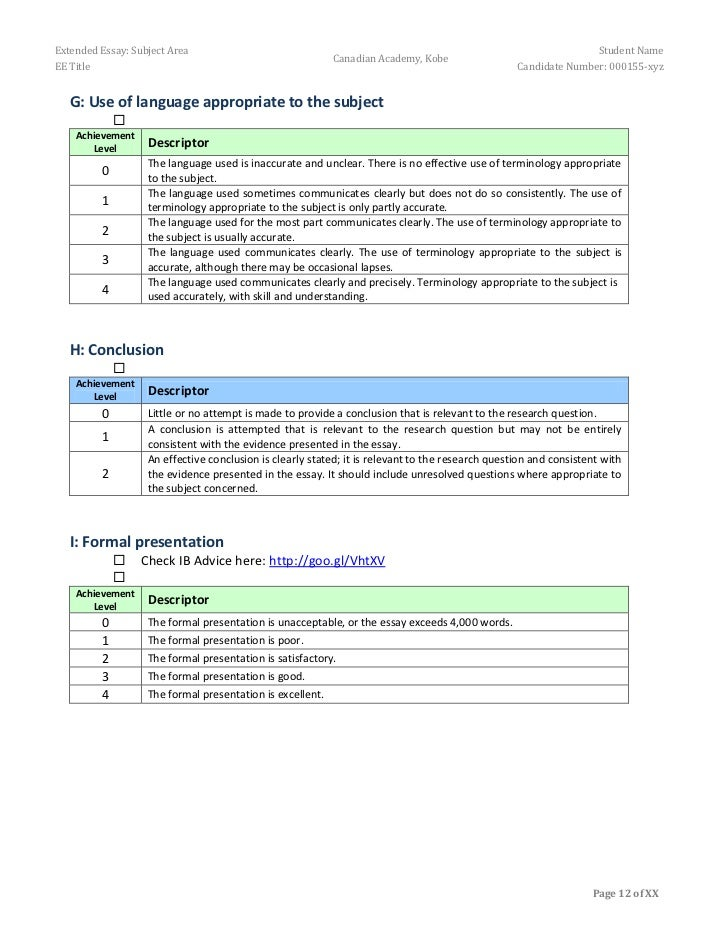Extended essay subject areas