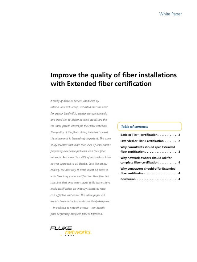 Extended Fiber Certification White Paper