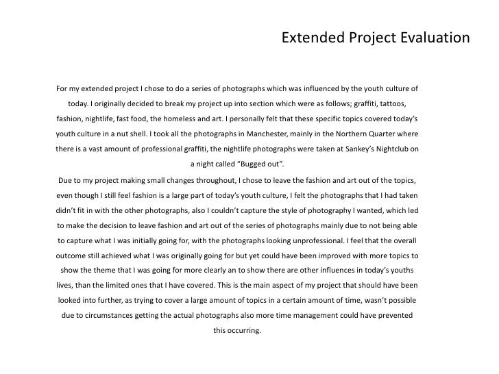 Extended project evaluation – Project Evaluation