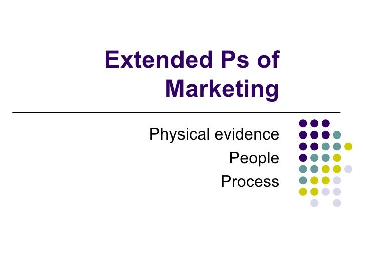 Extended Ps of Marketing Physical evidence People Process