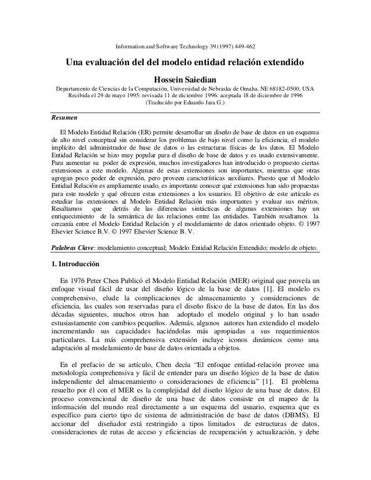 Information and Software Technology 39 (1997) 449-462     Una evaluación del del modelo entidad relación extendido        ...