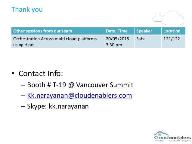 Thank you • Contact Info: – Booth # T-19 @ Vancouver Summit – Kk.narayanan@cloudenablers.com – Skype: kk.narayanan 20 Othe...