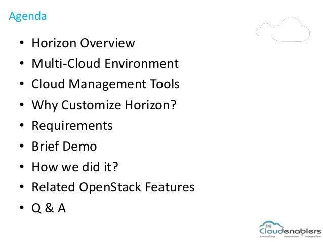 Agenda 3 • Horizon Overview • Multi-Cloud Environment • Cloud Management Tools • Why Customize Horizon? • Requirements • B...