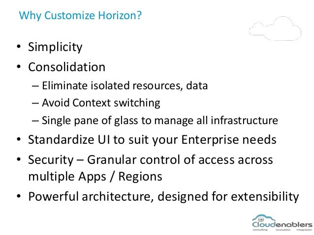 Why Customize Horizon? • Simplicity • Consolidation – Eliminate isolated resources, data – Avoid Context switching – Singl...
