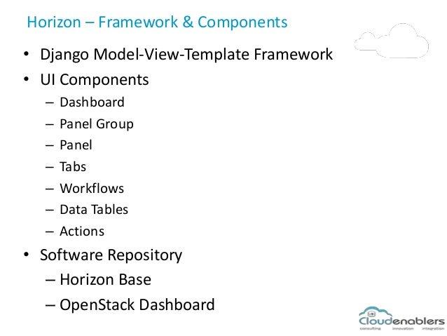 Horizon – Framework & Components • Django Model-View-Template Framework • UI Components – Dashboard – Panel Group – Panel ...