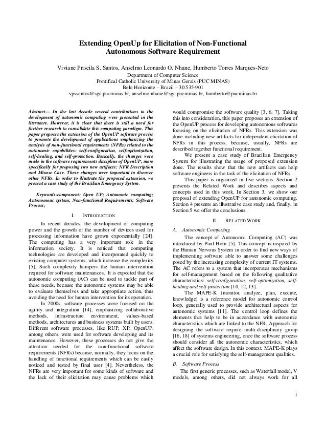 Extending OpenUp for Elicitation of Non-Functional                                 Autonomous Software Requirement        ...