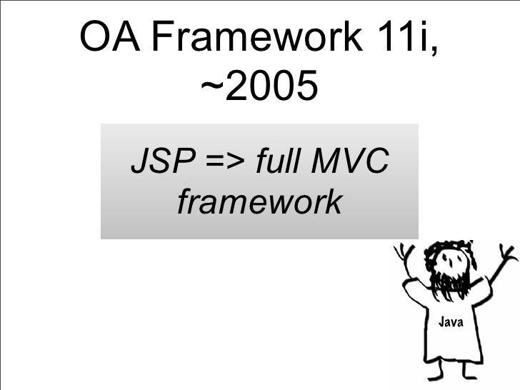 OA Framework 11i,     ~2005  JSP => full MVC    framework                    Java