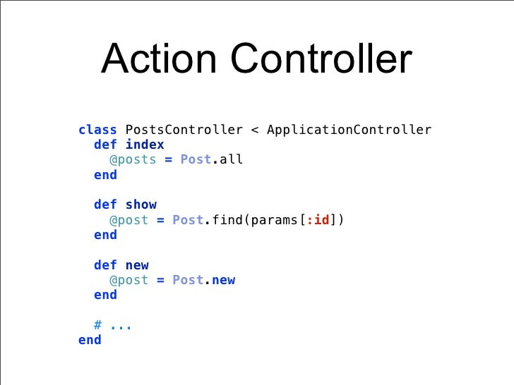 Action Controllerclass PostsController < ApplicationController  def index    @posts = Post.all  end def show   @post = Pos...
